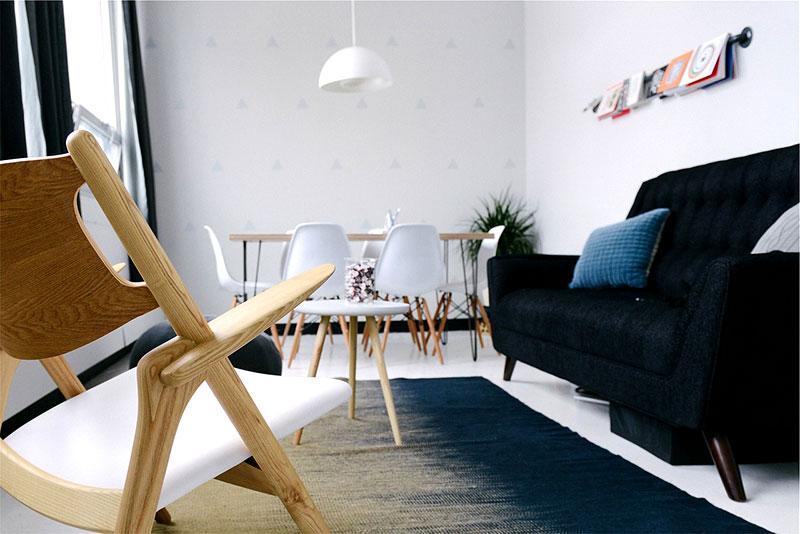meubles sobres dans un séjour de style scandinave tendance