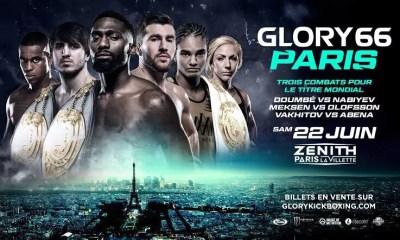 GLORY 66 - PARIS - La carte des combats pour le samedi 22 juin au Zenith