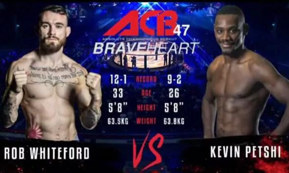 Kevin PETSHI vs Robert WHITEFORD - Full Fight Vidéo - ACB 47