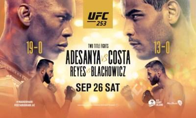 UFC 253 - Adesanya vs Costa - Résultats des combats
