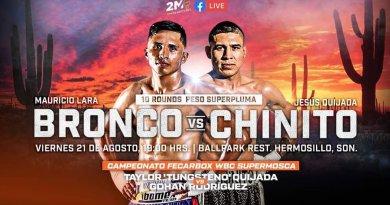 """#VIDEO / """"Bronco"""" Lara asegura KO sobre Quijada, en función para reactivar #Boxeo sonorense"""