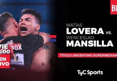 Lovera defiende el título argentino ante Mansilla esta noche en TyC Sports