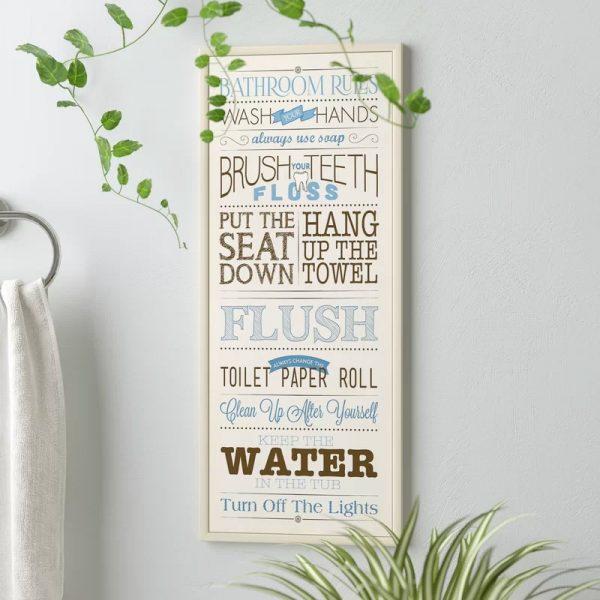 White Blue Brown Beach Bathroom Decor Plaque For Kids Bathroom