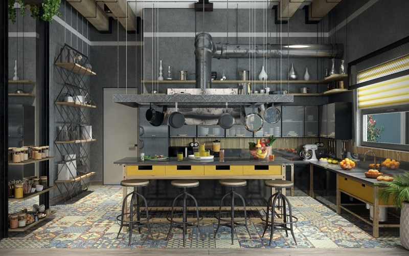 industrial style living room uk