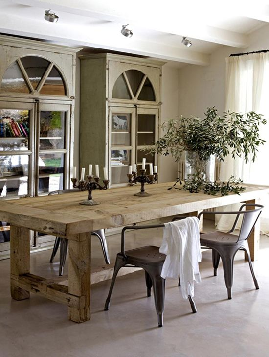 Rustic Hickory Dining Room Table