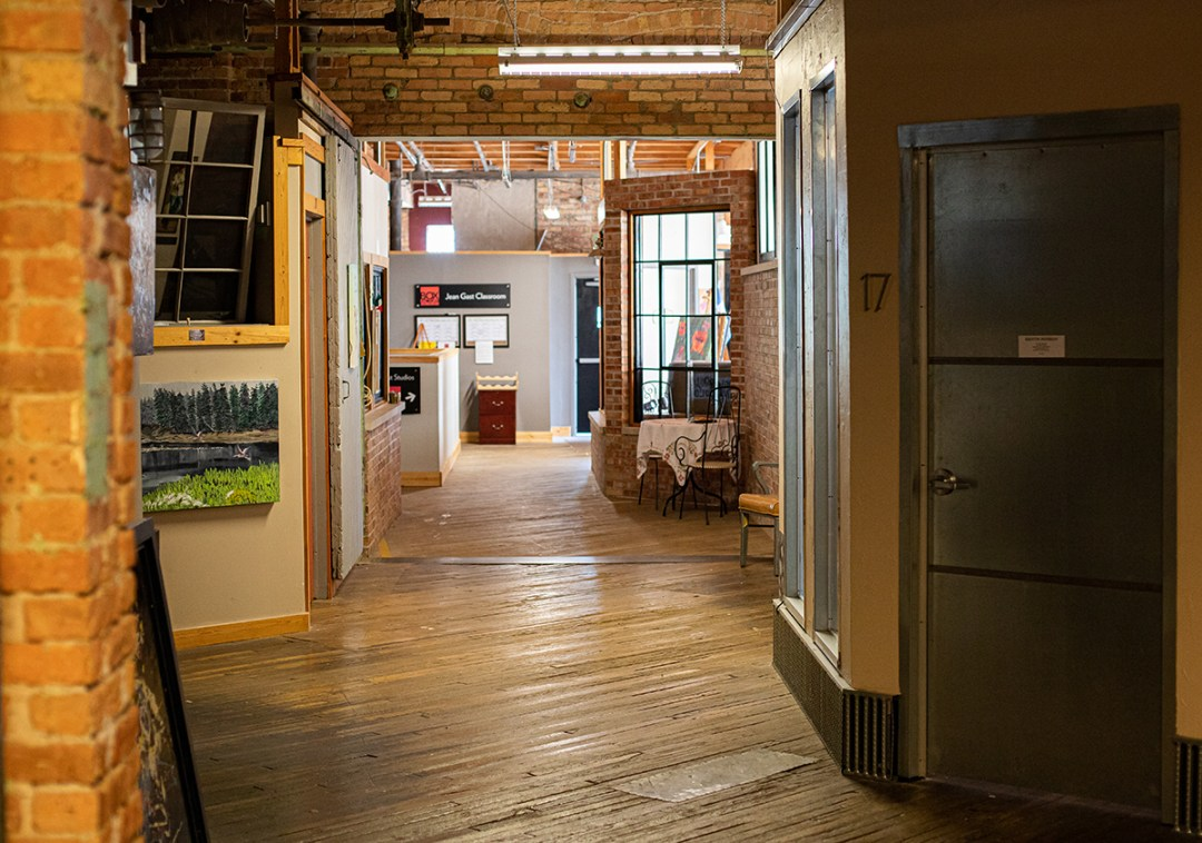 photo of a hallway with artist studios