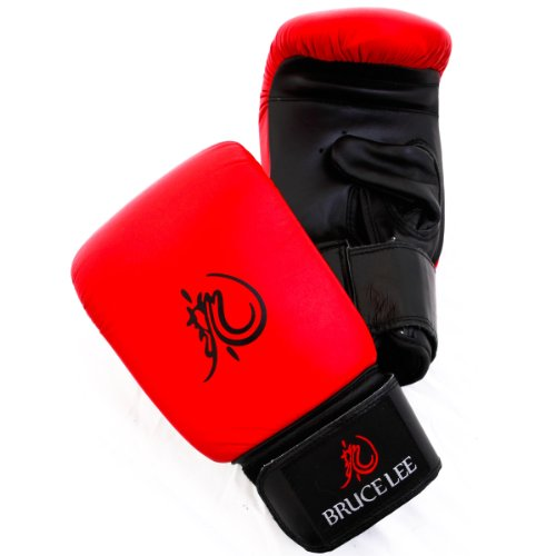 Bruce Lee Dragon Deluxe Boxing Bag Gloves Leather - Red / Black