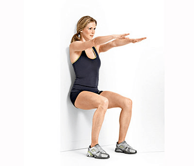 Scaled squat against the wall