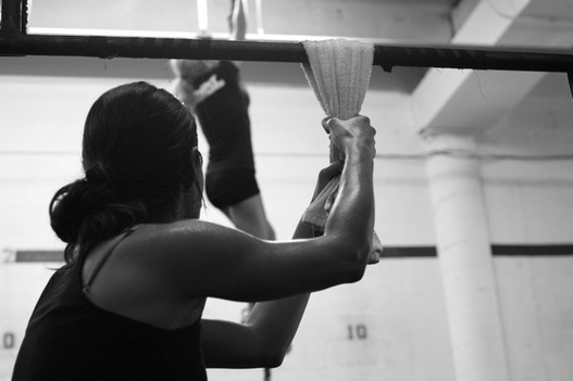 Towel pull-up for grip strength crossfit