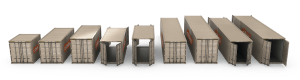 different container sizes