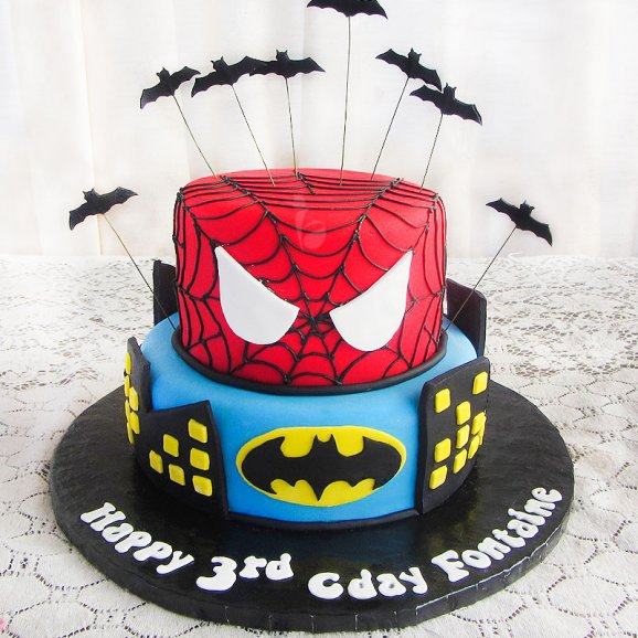 Two Tier Spiderman Cake Box Of Cake
