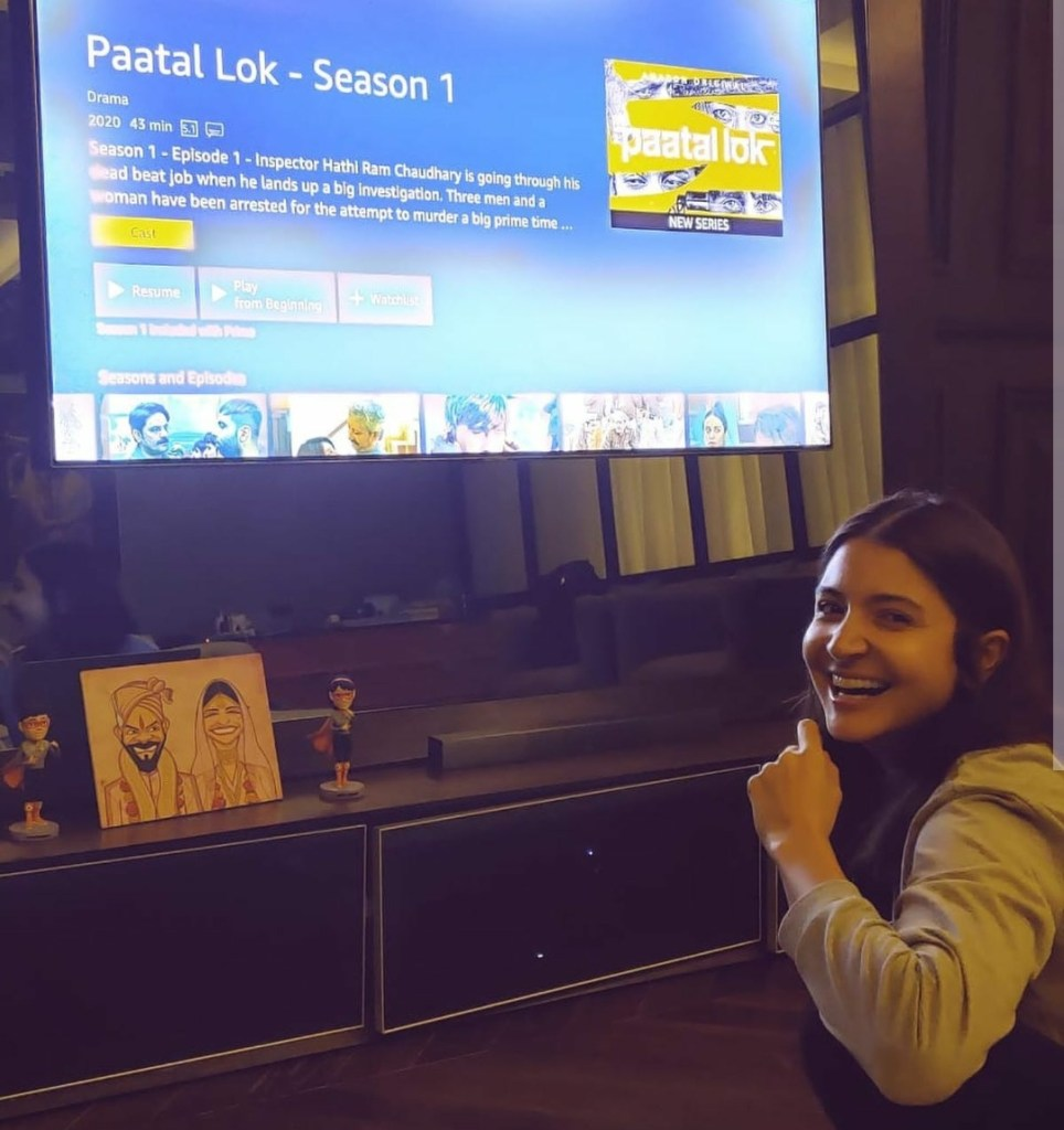 Producer Anushka Sharma Looks All Excited While Binge Watching Amazon Prime Video's New Original Series, 'Paatal Lok'. Streaming Now!