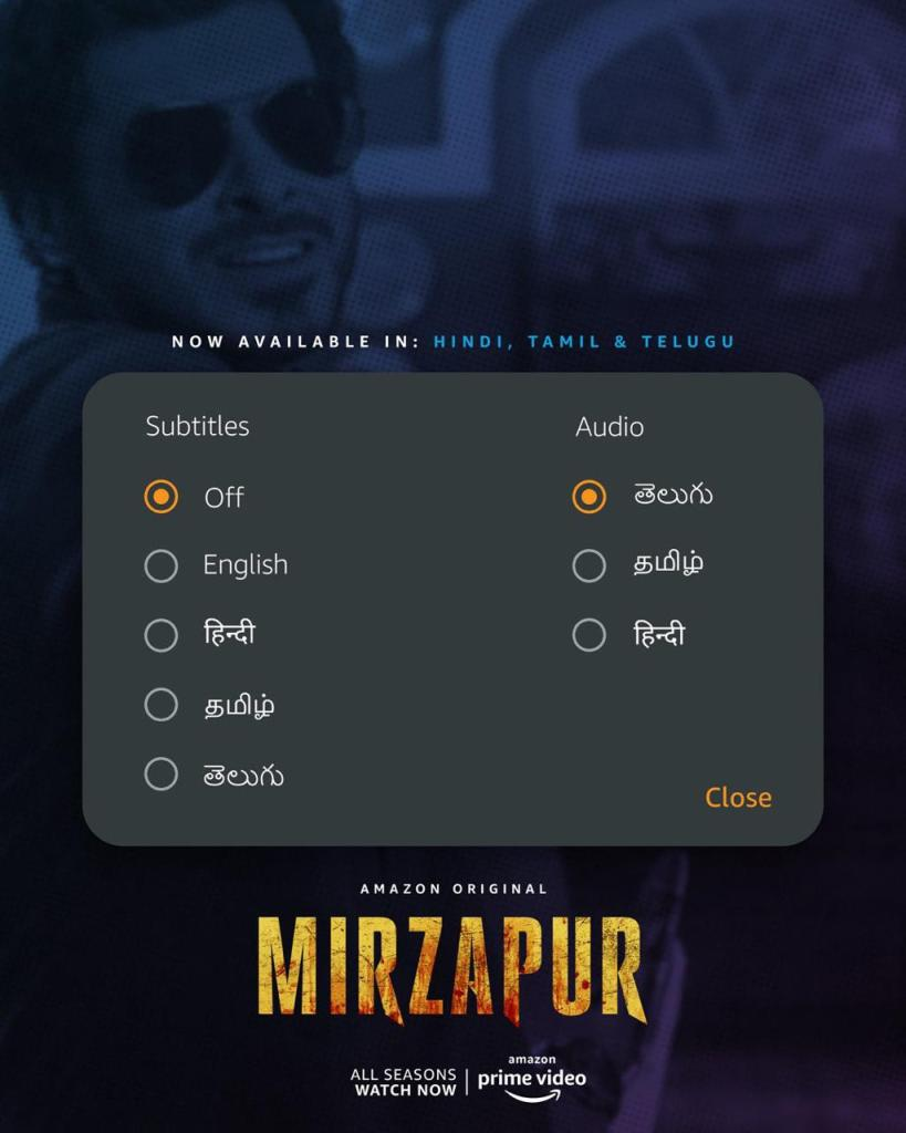 All the action, excitement, thrill and drama from Mirzapur now in Tamil and Telugu.