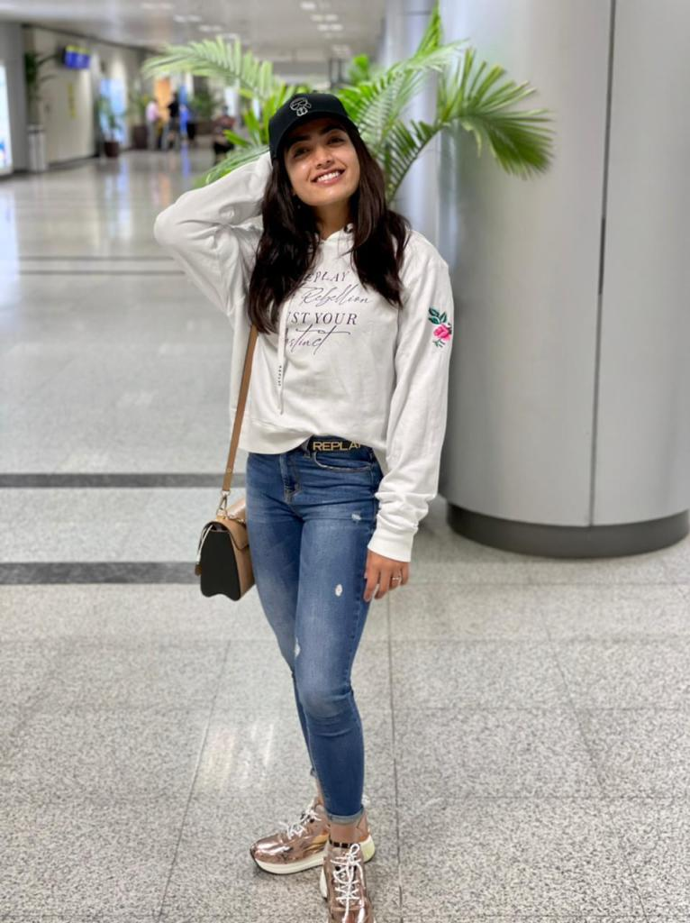 Rashmika Mandanna Is All Smiles As She Heads To Hyderabad For The Next Shoot Schedule Of Her First Pan-India Project, 'Pushpa'