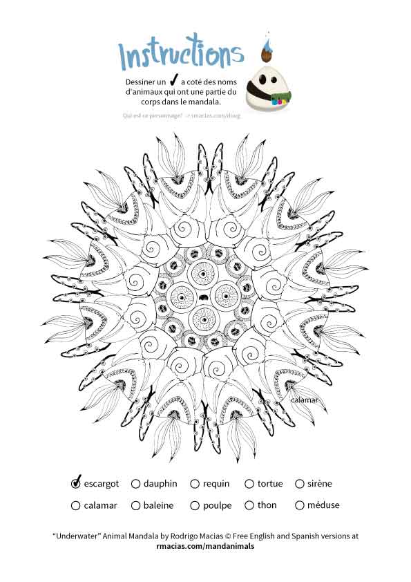 free coloring activity  animal mandalas  en  es  fr vocabulary of animal names