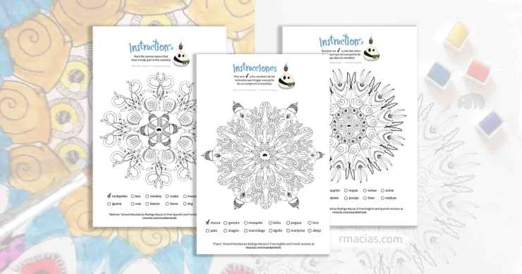 Coloring activity of animal mandalas that can be used as a coloring language activity so children can practice vocabulary of animal names in English, French and Spanish, by matching those names with the animal body parts that form each design. By kids activities designer Rodrigo Macias