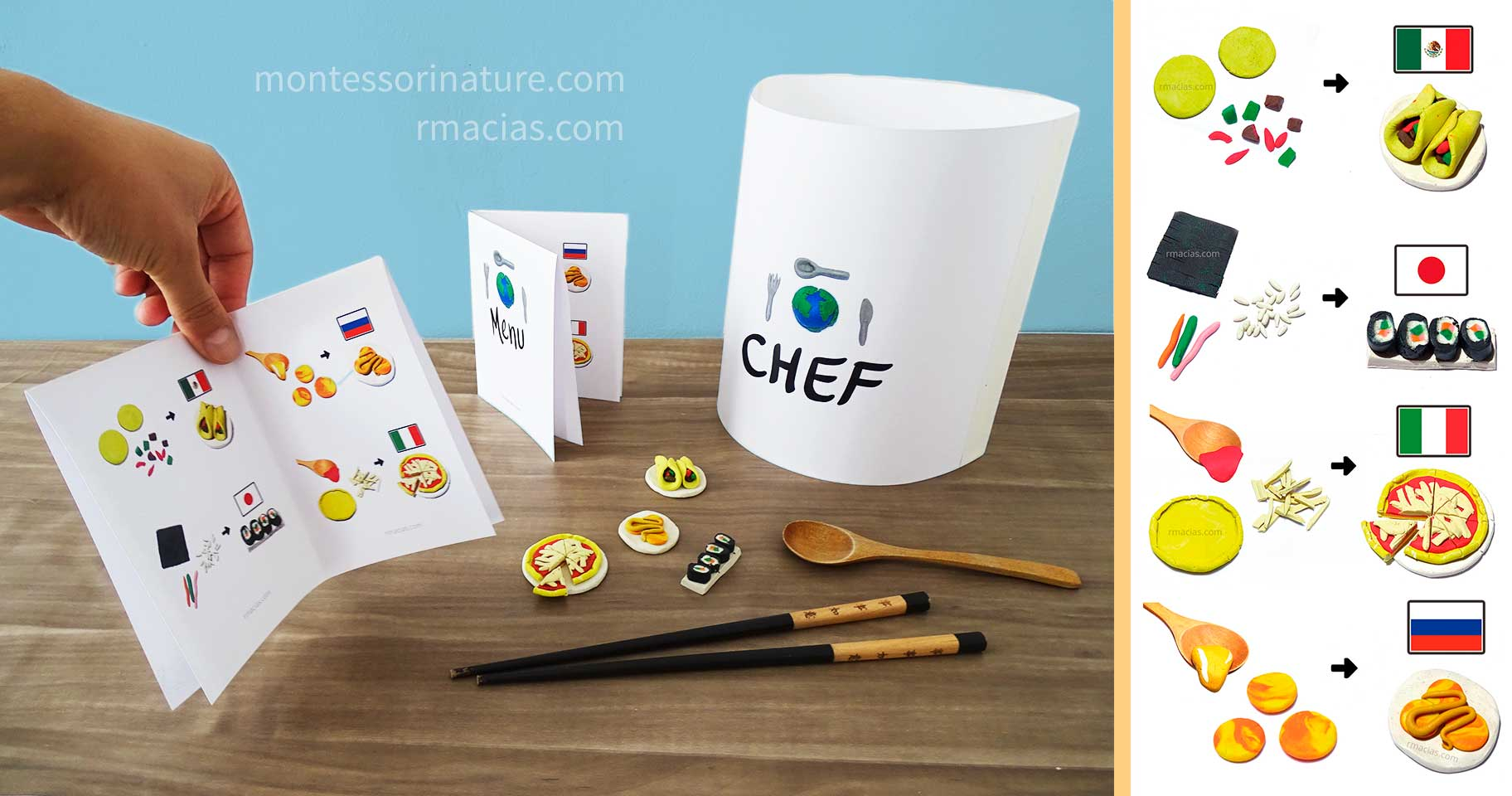 International Kid Chef S Hat And Dough Food Menu Guide