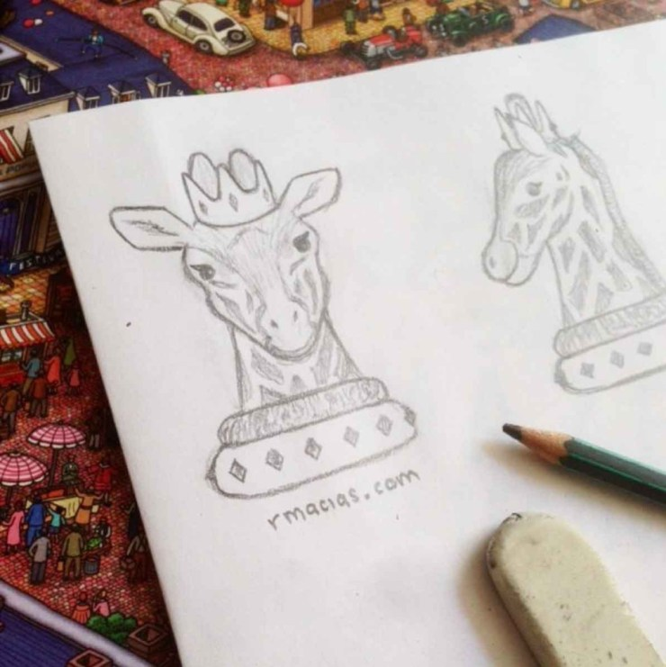 3D sketch for a Giraffe Queen chesspiece by Rodrigo Macias for a free printable chess for kids