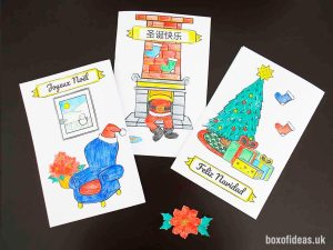 Finished examples of a DIY Christmas card project for kids