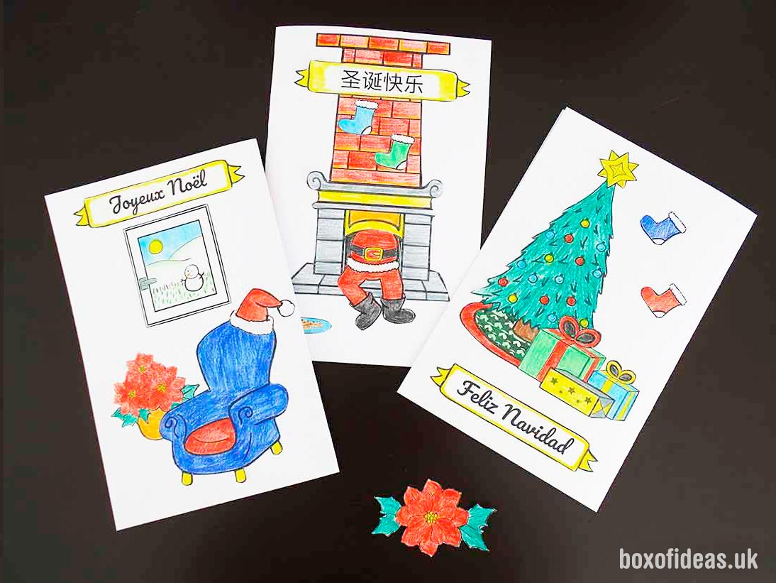 kids diy christmas card idea coloring cut and paste free