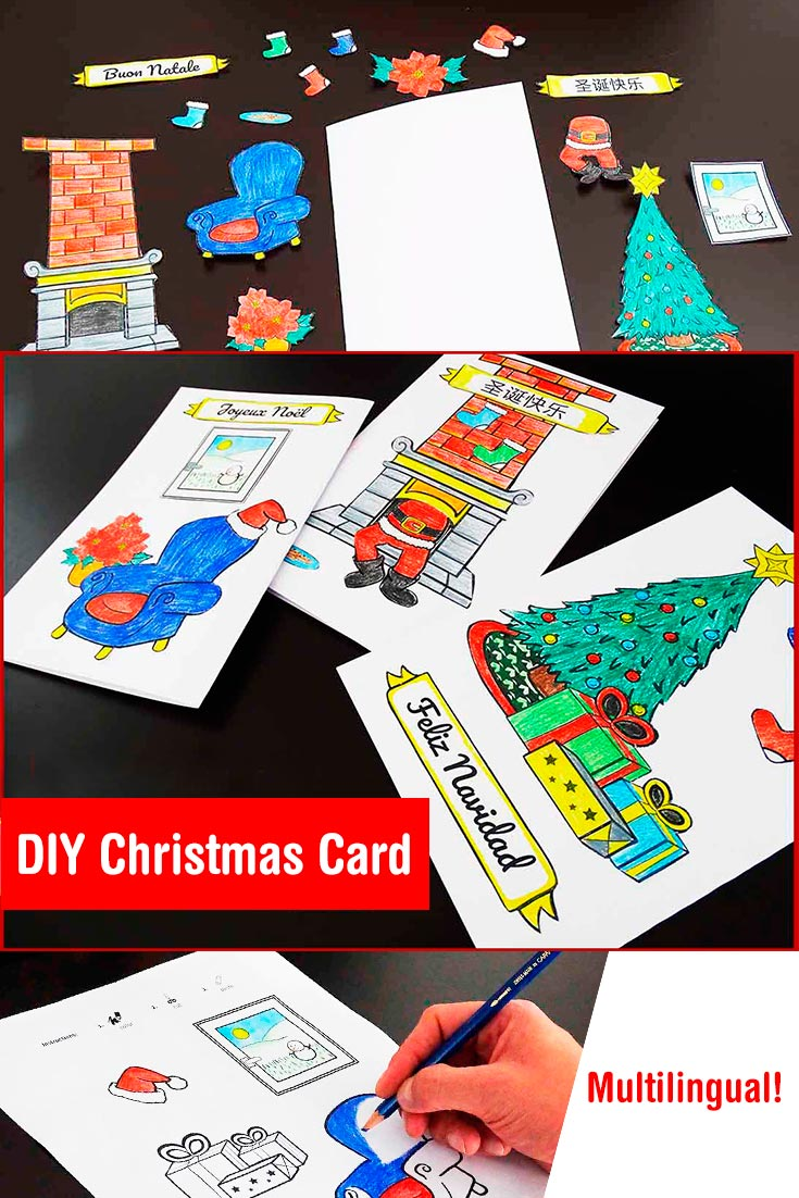 A simple and creative idea for a DIY chrismas card made by your kids. Includes free multilingual template :)