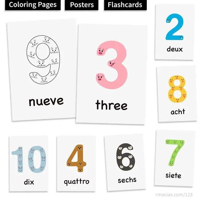 1-10 Animal Numbers for Kids (Free Multilingual Printables ...