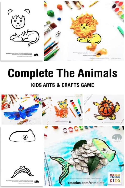 Complete The Animals Game - Fun idea for an Arts and Crafts game where kids exercise their creativity and problem-solving skills by coming up with different ways to complete the bodies of different animals. Free PDF has the base drawings for printable for the following animals: Lion, Bird, Cat, Turtle, Snake, Fish, Butterfly and Sheep.