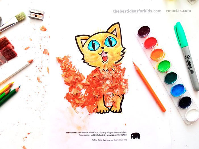 Art supplies and cat from Complete The Animals Game - Fun idea for an Arts and Crafts game where kids exercise their creativity and problem-solving skills by coming up with different ways to complete the bodies of different animals. Free PDF has the base drawings for printable for the following animals: Lion, Bird, Cat, Turtle, Snake, Fish, Butterfly and Sheep.