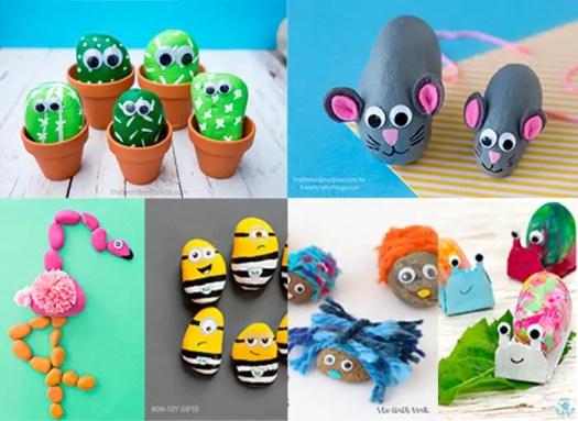 creatures-list-compilation-of-rock-crafts-ideas-for-kids-manualidades-con-piedritas-para-ninos