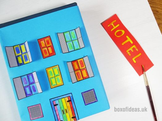 Colourful Hotel for a recycled town project. A fun DIY kids craft toy made out of recycling #cardboardcraft