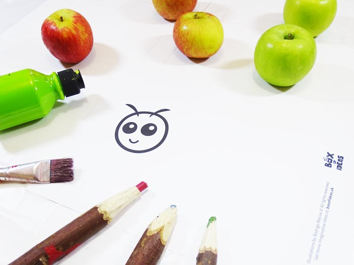 Printable Worm or Caterpillar Coloring Page for Bugs and Nature Simple Stamping Art activity for Preschool Kids using Apples. #preschool #crafts #apples