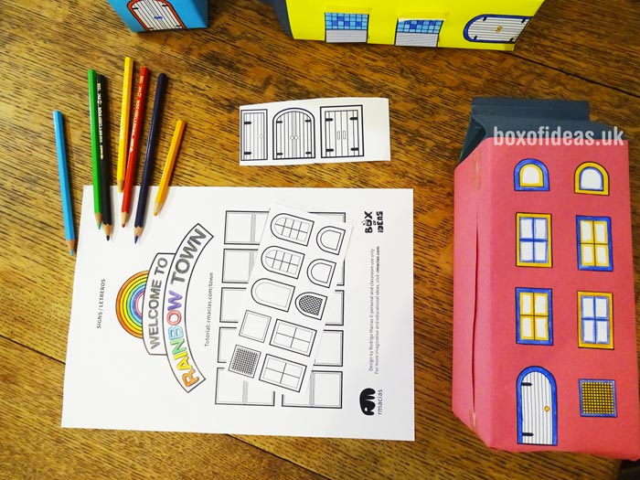 Welcome sign printable coloring page for a recycled town project. A fun DIY kids craft toy made out of recycling #printable #coloringpage