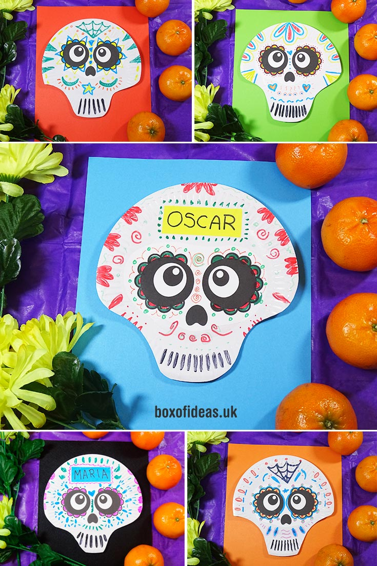 Paper Plate Mexican skulls to make with kids for Day of the Dead at school #dayofthedead #paperplate #craft #halloween