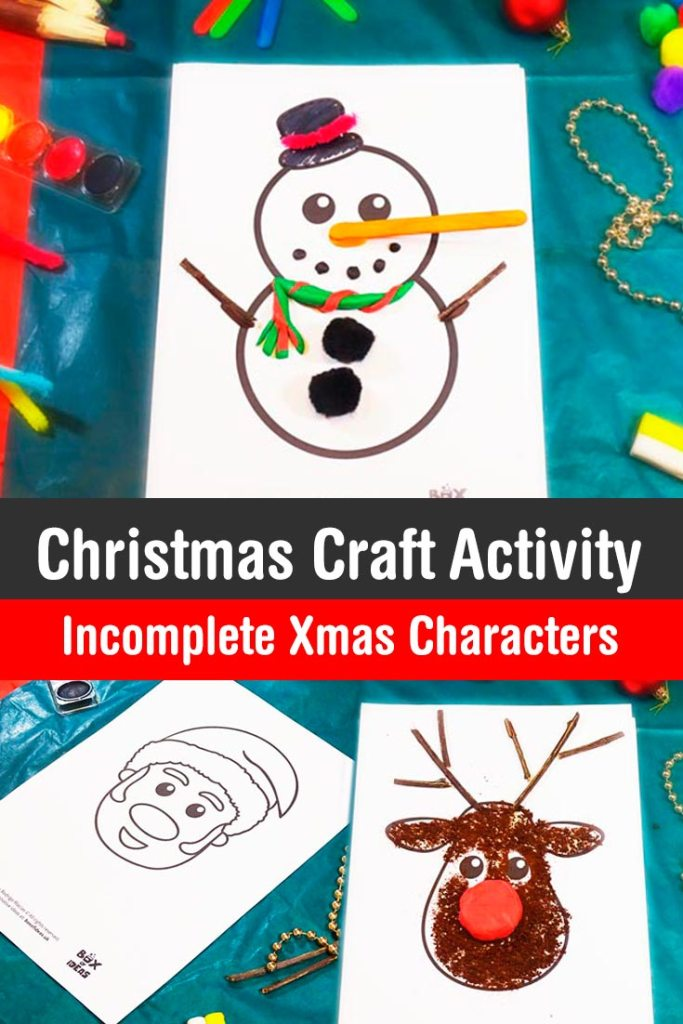 Complete the xmas characters santa reindeer and snowman for Printable christmas craft ideas