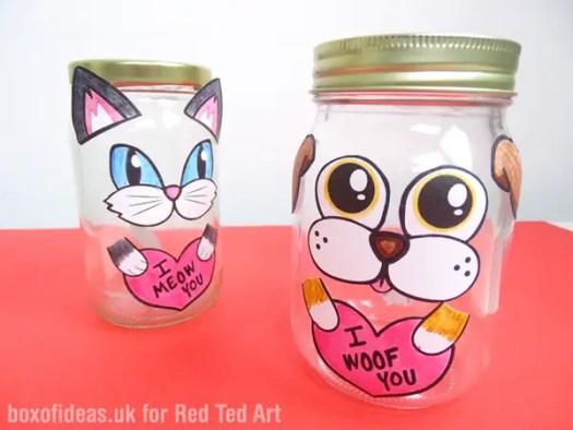 Empty Dog and Cat Valentine's Treat Jar #valentines #dog #cat #treats #jar