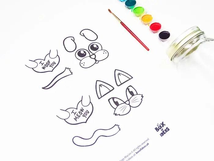 photo regarding Jar Printable named Canine Cat Valentines Jar PrintableBox of Suggestions Box of Suggestions