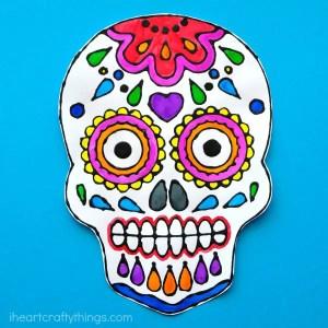 Sugar skull black glue art project by i Heart Crafty Things