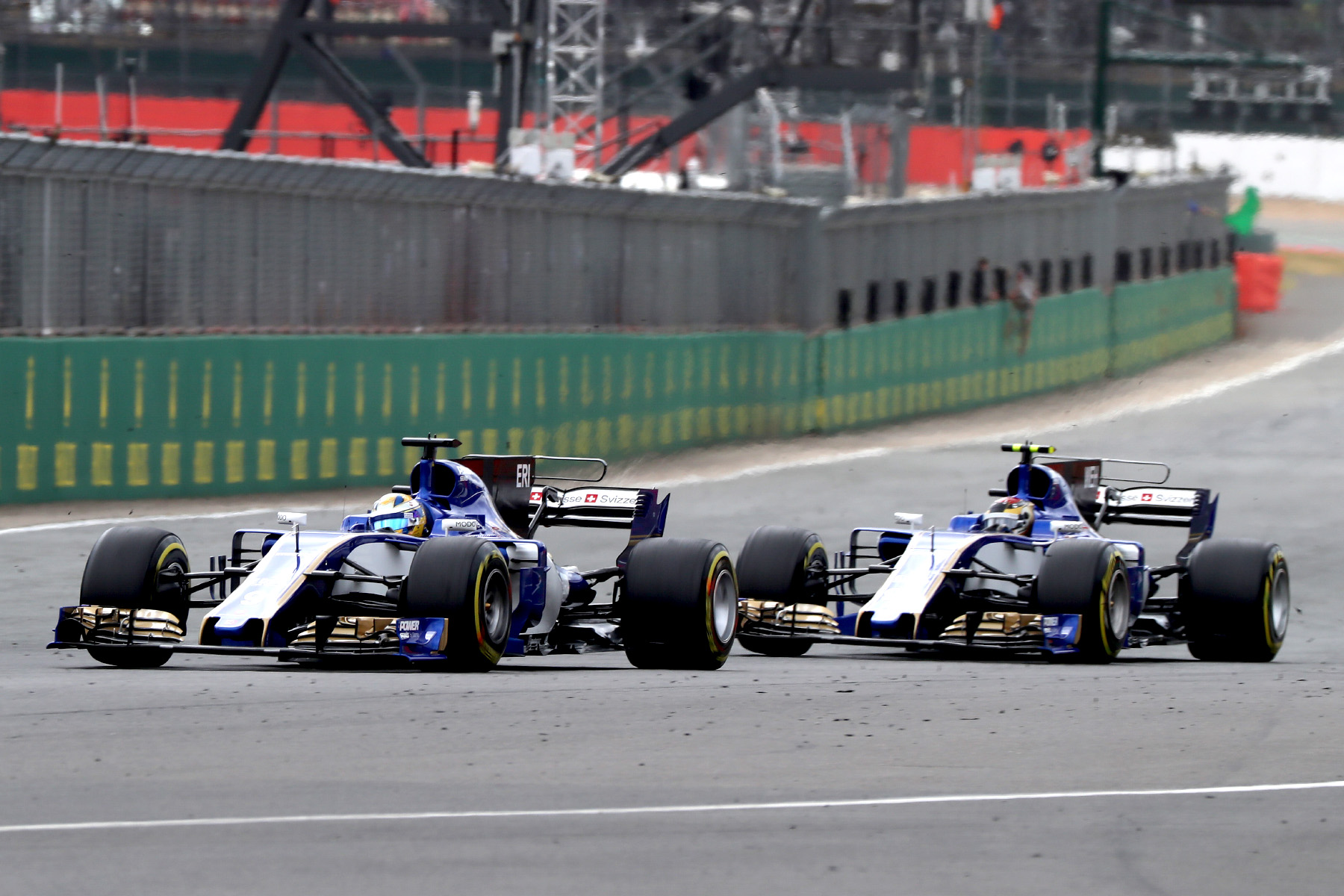 Sauber drivers Pascal Wehrlein and Marcus Ericsson meet on track at the British Grand Prix.
