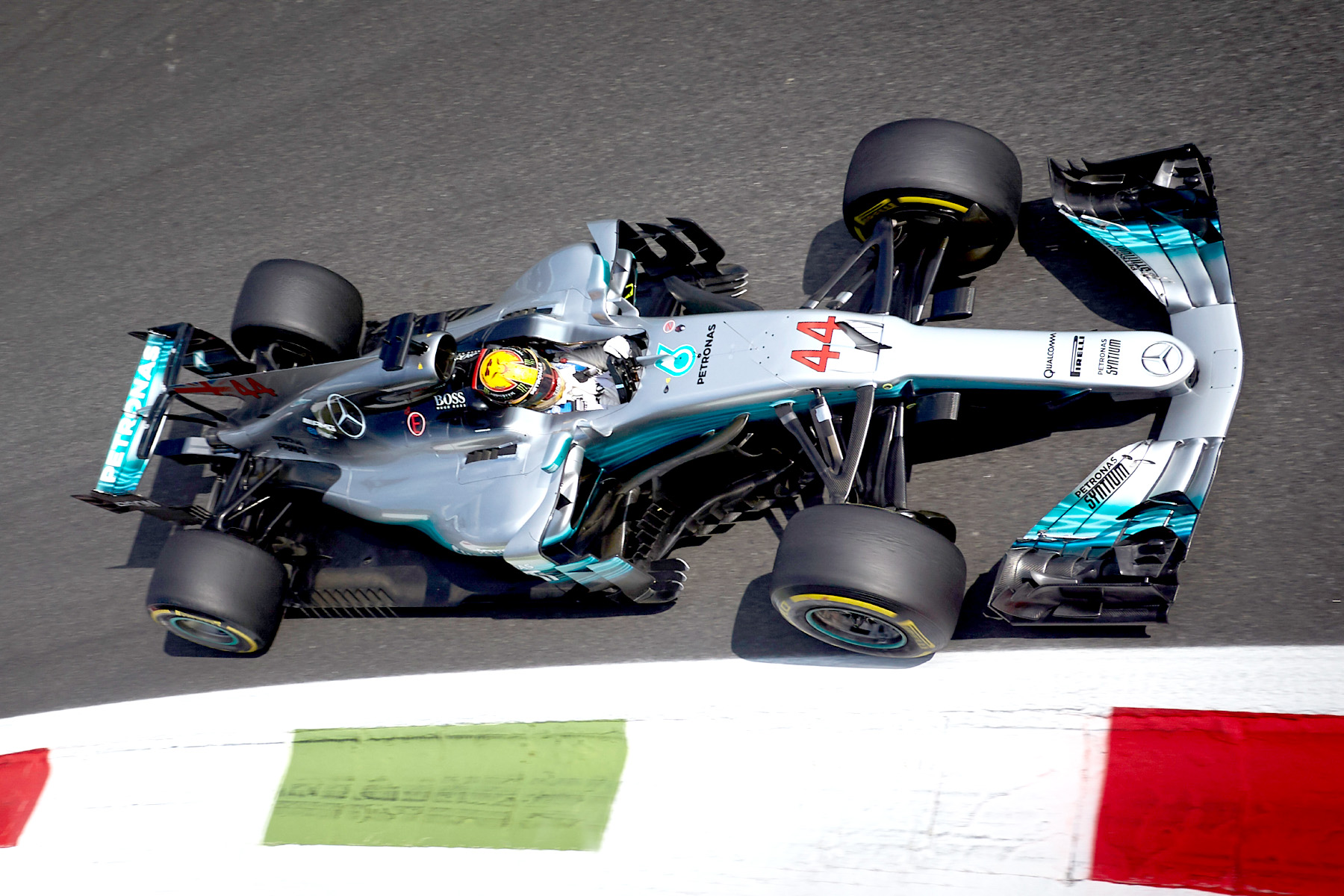 Lewis Hamilton on the circuit at the Italian Grand Prix.