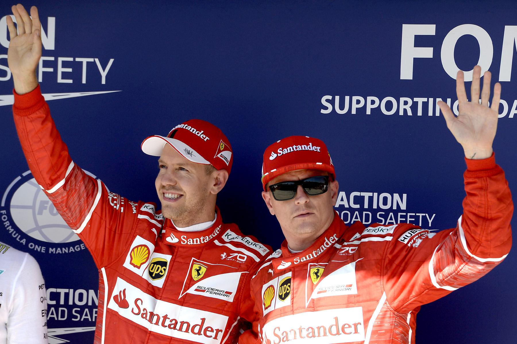 Sebastian Vettel and Kimi Raikkonen at the 2017 Hungarian Grand Prix.