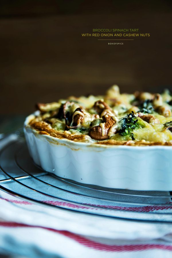 Broccoli Spinach Tart with Cashew Nuts & Red Onion