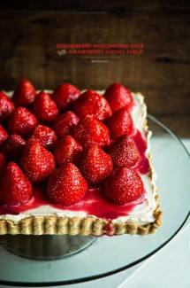 Strawberry Mascarpone Tart with a Raspberry Sherry Syrup
