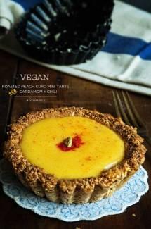 Vegan Roasted Peach Curd Mini Tarts