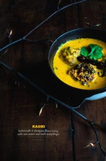 Kadhi / Buttermilk and Chickpea Flour Curry with Red Onion and Kale Dumplings