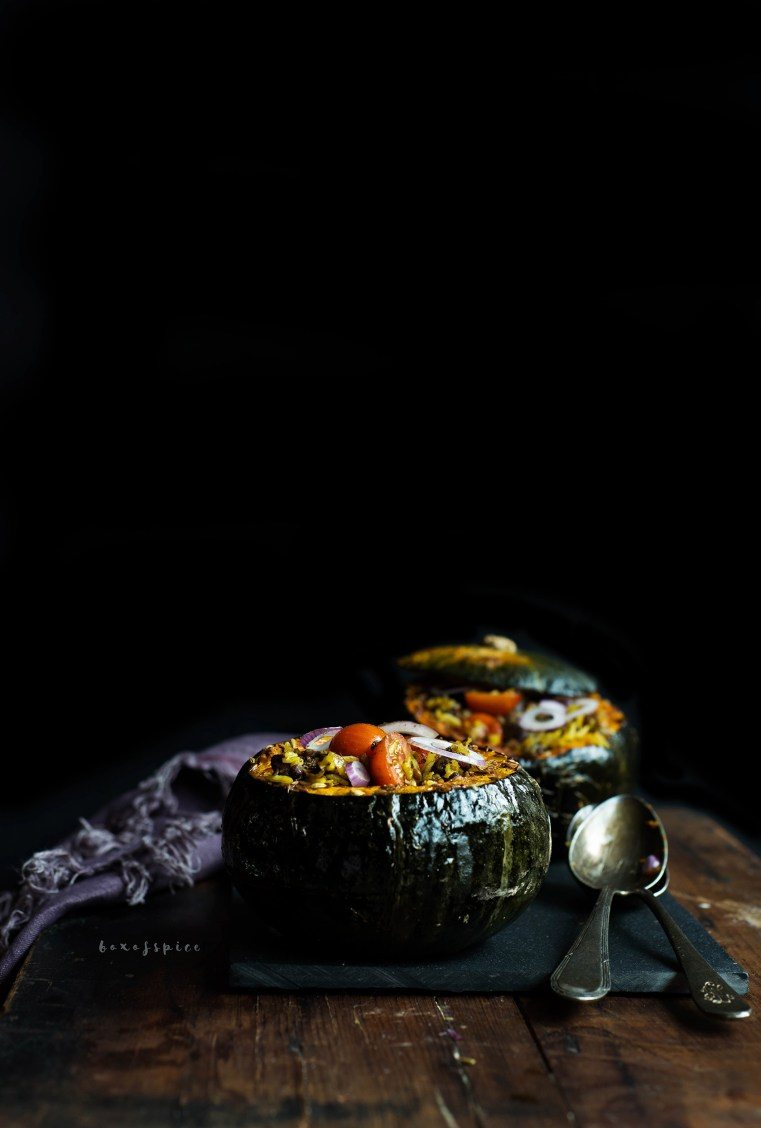 Red Beans and Basmati Stuffed Kabocha Squash I Boxofspice