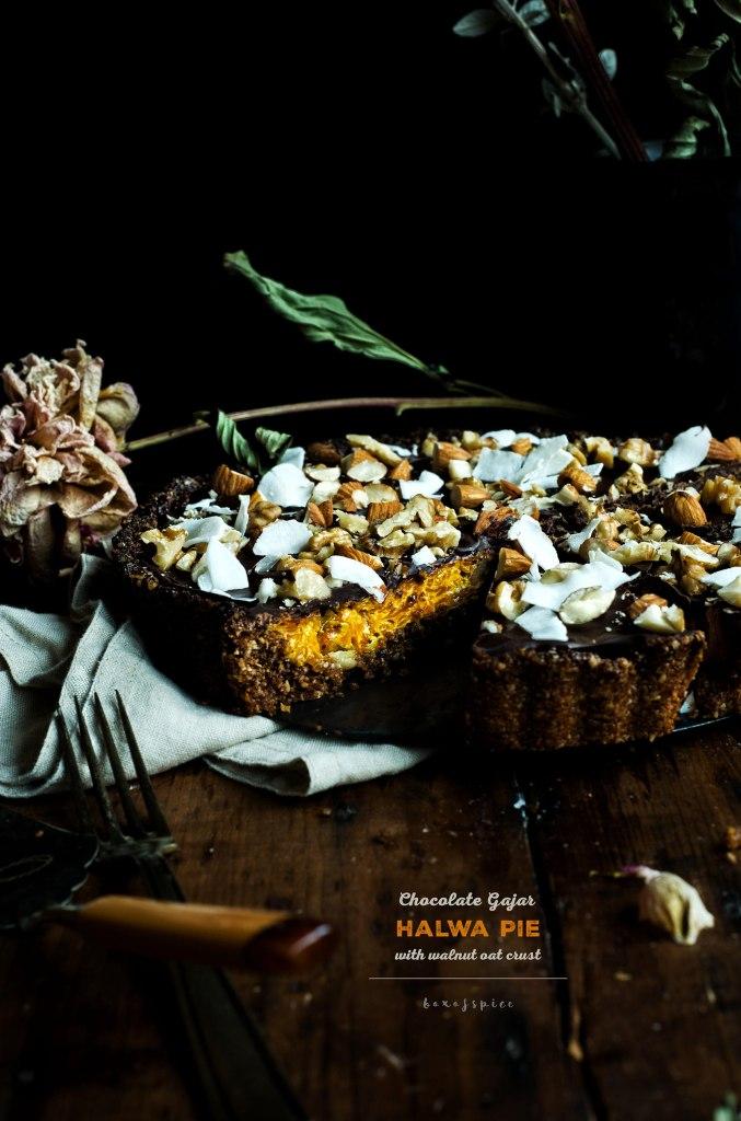 Chocolate Gajar Halwa Pie with Walnut Oat Crust