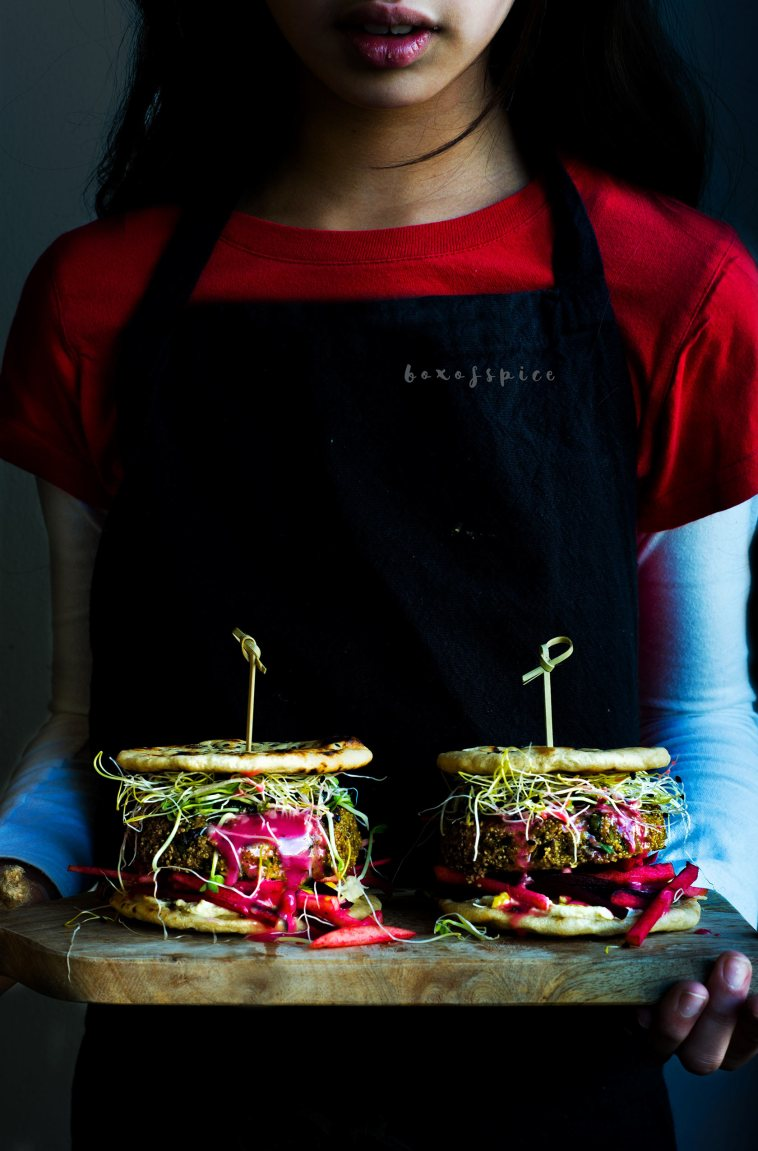 Fava Bean and Amaranth Shoarma Naan Slider with Hummus I Boxofspice