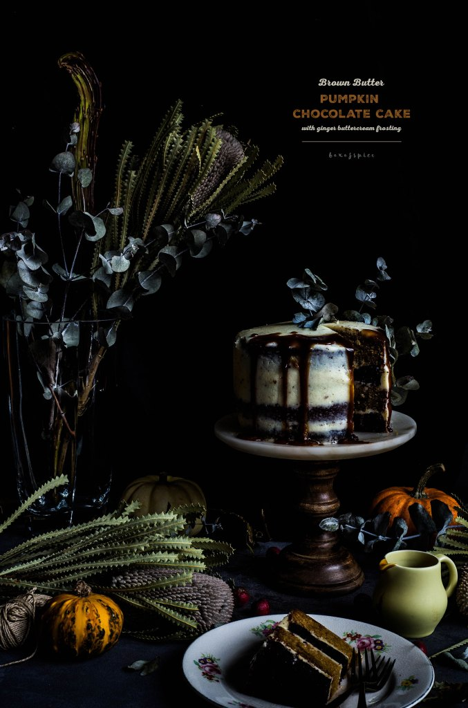 Brown Butter Pumpkin Chocolate Cake