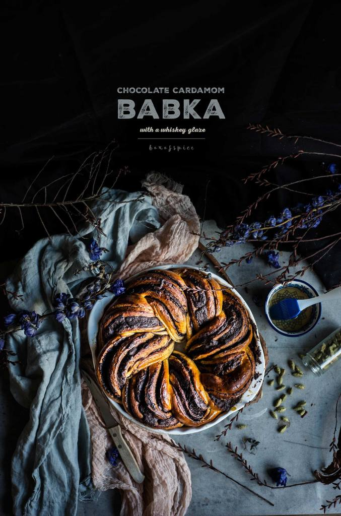Chocolate Cardamom Babka with A Whiskey Glaze