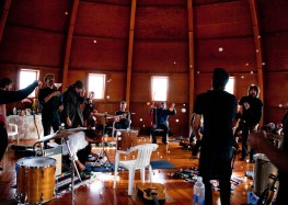Seth Olinsky and musicians at The Integratron